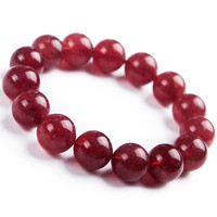 Natural Strawberry Quartz Clear Round Beads Charm Crystal Stretch Bracelet 14mm For Women Gift