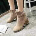 Plus size 34-43 Mulheres Outono Inverno Botas Senhoras sapatos botas Martin ankle boots De Couro Camurça Sólida Europeu com matagal espesso