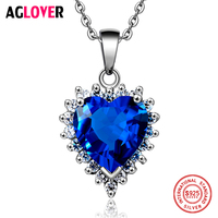 Ocean Heart 100 Sterling Silver Necklace AAA Crystal Zircon Woman Charm Jewelry Heart 925 Silver Pendant
