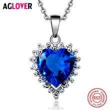 Фотография Ocean Heart 100% Sterling Silver Necklace AAA Crystal Zircon Woman Charm Jewelry Heart 925 Silver Pendant Necklace
