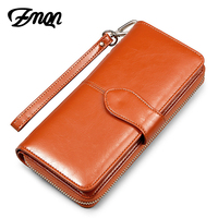 Women Wallet Oil Wax Leather Clutch Bag Fashion Phone Wallet And Purses For Women Brand Zipper