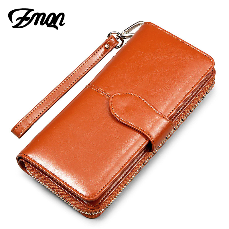 878a59a43c30 ZMQN Women Wallet Oil Wax Leather Clutch Bag Fashion Phone Wallet And Purse  For Women Brand Zipper Coin Card Holder High Quality-in Wallets from  Luggage & ...