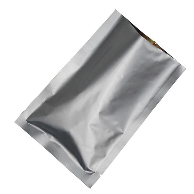 50pcs Open Top Pure Aluminum Foil Packaging Bags Vacuum