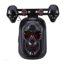 Universal Black Motorcycle Skull Turn Signal Rear Brake Tail Light For Harley Bobber Honda Yamaha