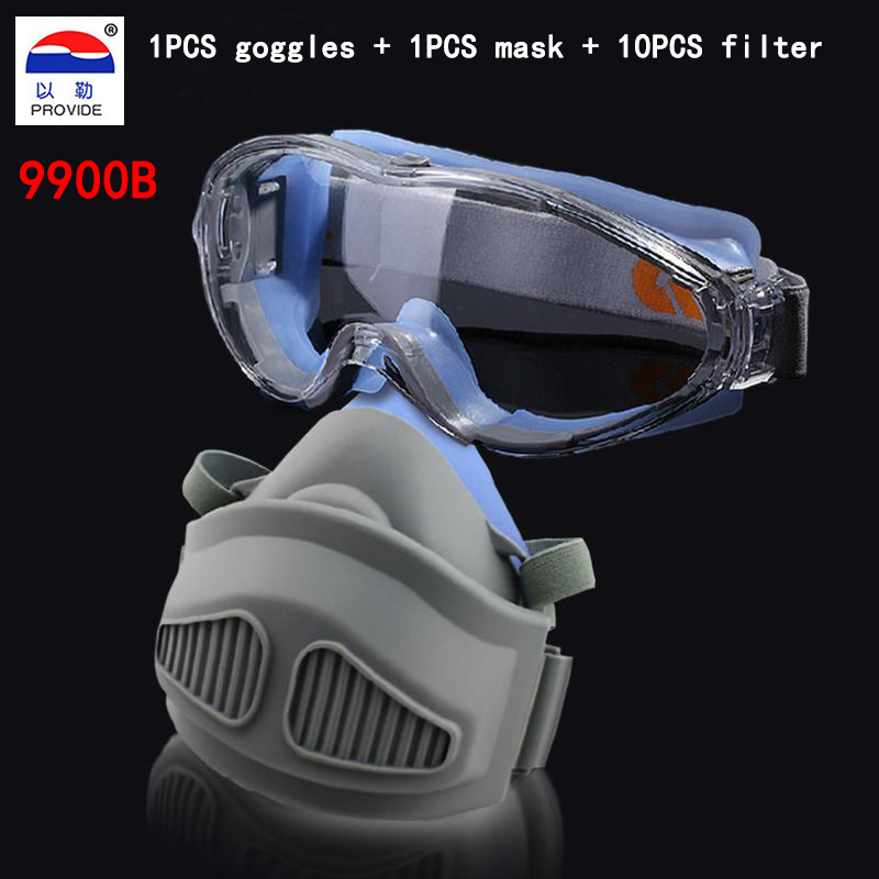 PROVIDE The New Goggles +respirator dust mask Configuration 10PCS filter cotton respirator mask Silicone no smell mask provide respirator dust mask high quality gray dust mask 10 piece filter cotton painting welding respiration mask