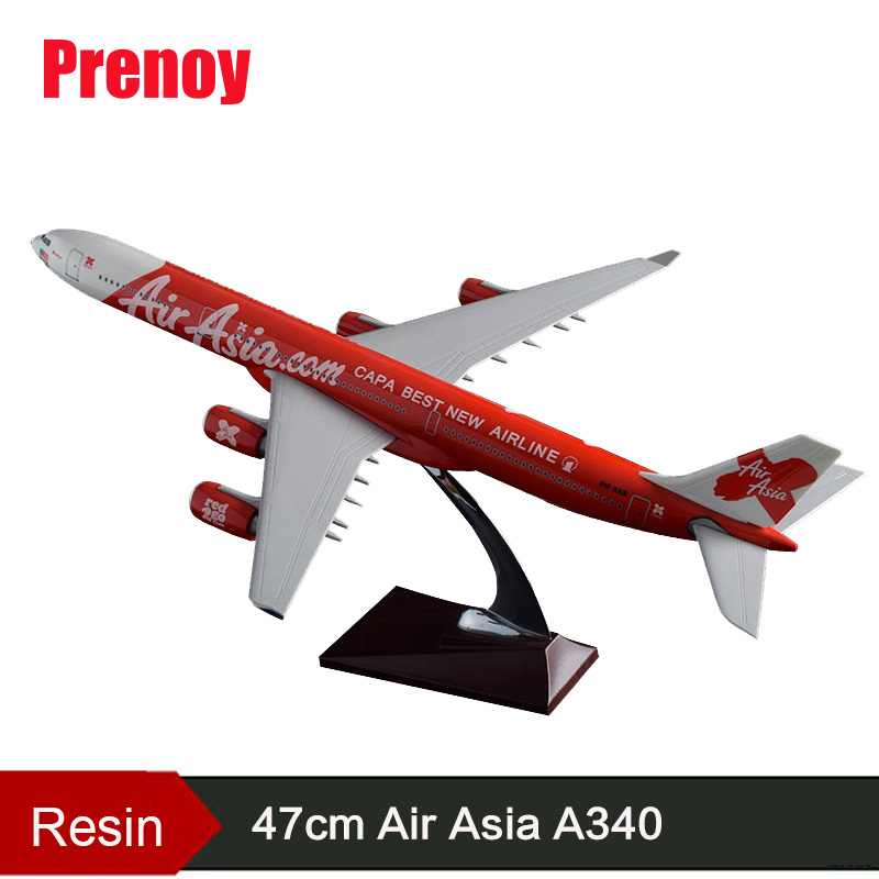 47cm Resin A340 Airplane Model Air Asia Airways Model Asian International Aviation Model Air Asia Aircraft A340 Collection Gift fine special offer jc wings 1 200 xx2457 portuguese air b737 300 algarve alloy aircraft model collection model holiday gifts