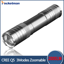2017 hot sale rushed camp mini led flashlight torch 2000lm cree T6 adjustable focus zoom light