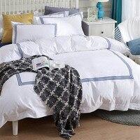 Luxury 100% Egypt Cotton White Embroidery 5 stars Hotel Bedding Set Long staple cotton Satin Strip Bed Line duvet cover sheet