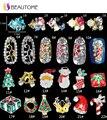 1 Unids 20 Color Superior de Uñas Serie De Navidad Oro Plata Hueco de la Aleación de Diseño de Diamante Para Nails Tips Manicura Decoraciones De Metal