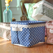 ZAKKA New Wholesale Cotton Storage Basket Dot Lace Glove Laundry Basket Storage Basket 0432