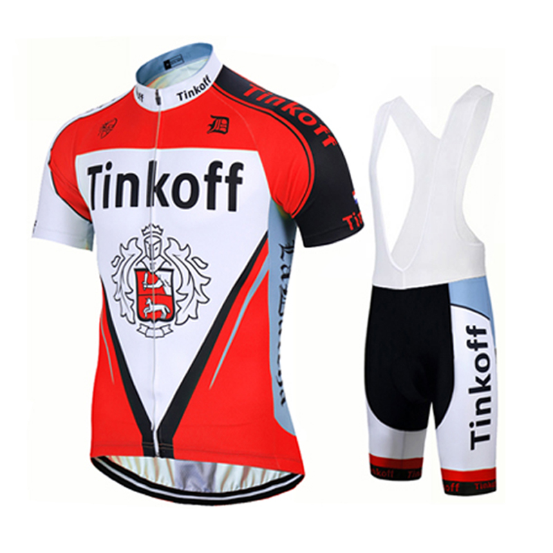 Prix pour Tinkoff saxo bank 2017 rouge à manches courtes respirant vélo clothing/tour de france cycling team jersey maillot ciclismo + gel pad