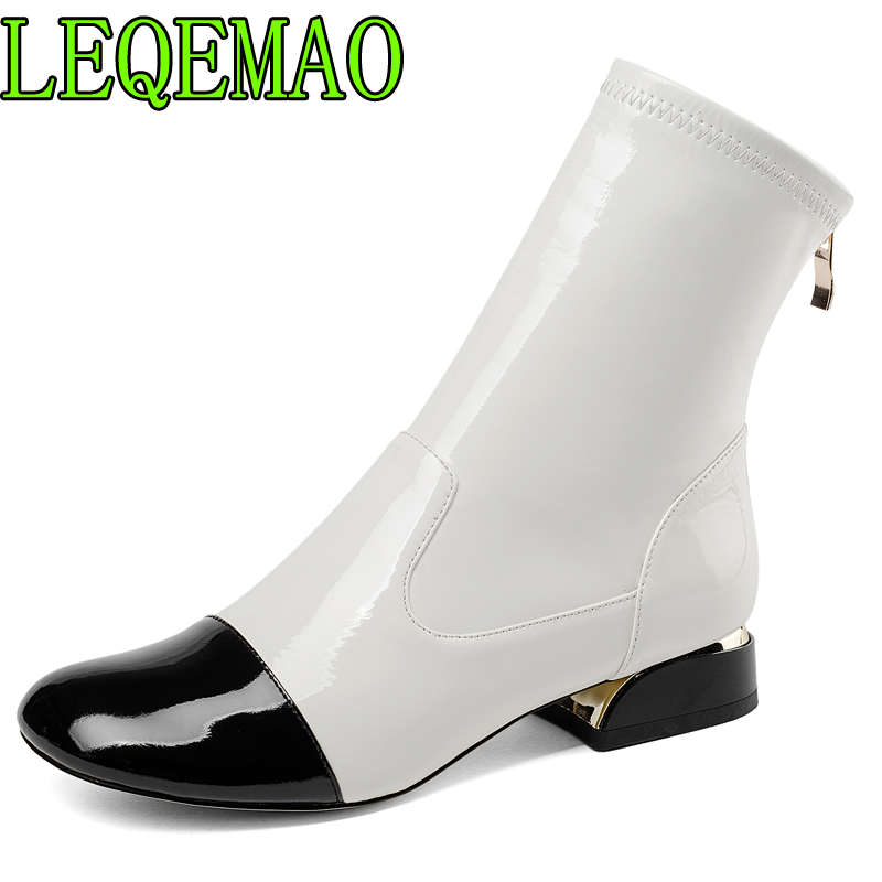 2018 autumn winter genuine leather zipper ankle boots white and black mixed colors womens shoes matin boots new2018 autumn winter genuine leather zipper ankle boots white and black mixed colors womens shoes matin boots new