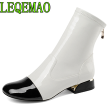 2018 autumn winter genuine leather zipper ankle boots white and black mixed colors women's shoes matin boots new xiuningyan shoes woman 2018 autumn winter chunky heels zipper black beige ankle boots women s shoes genuine leather matin boots