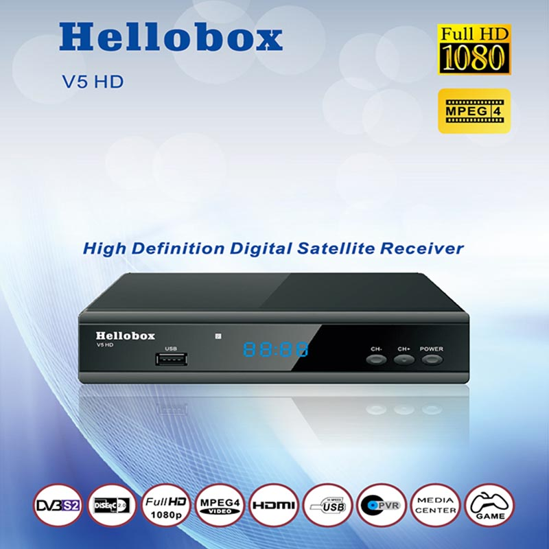 Hello box V5 Satellite Receiver DVBS2 IPTV Online Software Upgrade Support CCCAM Newcam Mgcam <font><b>SCAM</b></font> 2 Year TV BOX image
