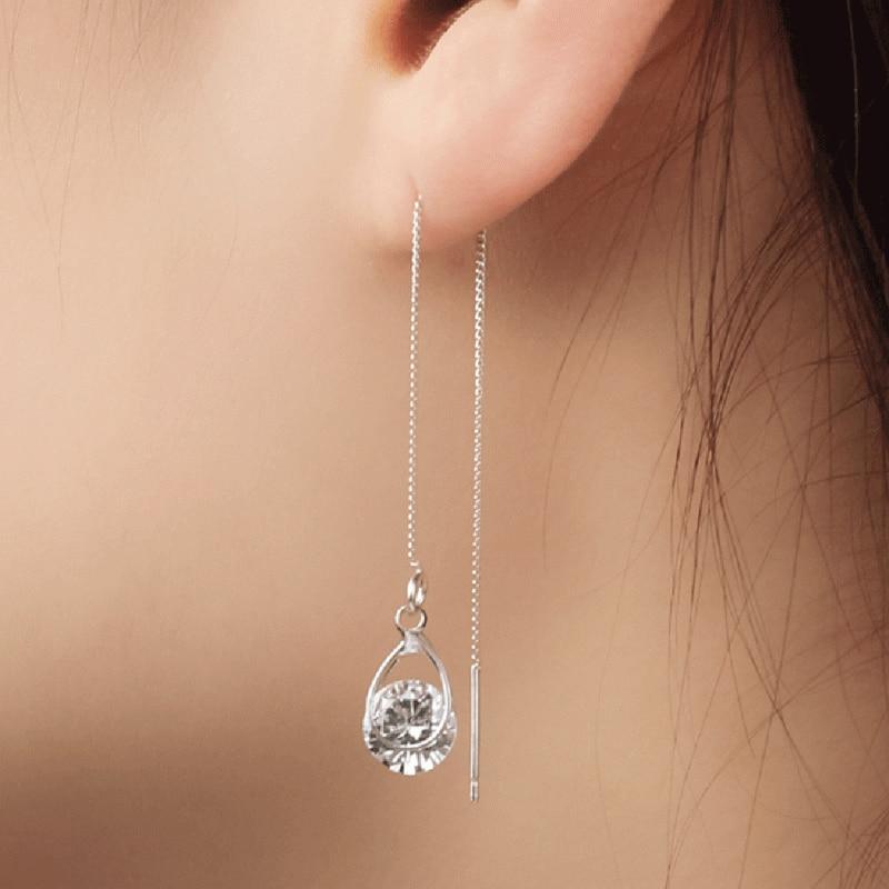 New Gold Silver Color Long Drop Rhinestone Tassel Dangle Earrings Women Wedding Drop Earing Fashion Sparkling Crystal Jewelry