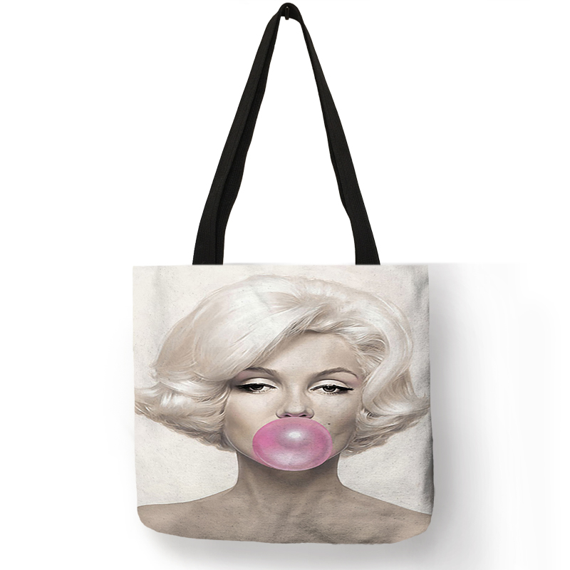 Customized Famous  Monroe Reusable Shopping Bag  Eco Linen Bags With Quotes Print Women Fashion Handbags DropshippingCustomized Famous  Monroe Reusable Shopping Bag  Eco Linen Bags With Quotes Print Women Fashion Handbags Dropshipping