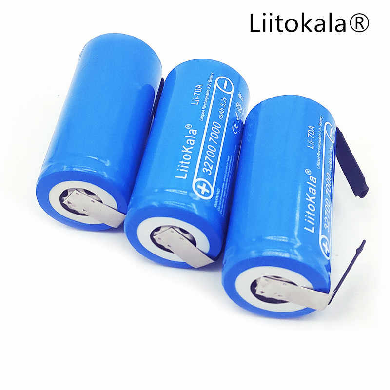 LiitoKala 2019 Lii-70A 3.2 V 32700 7000 mAh Battery LiFePO4 35A 55A High Power Continuous Discharge Battery + Nickel Sheets