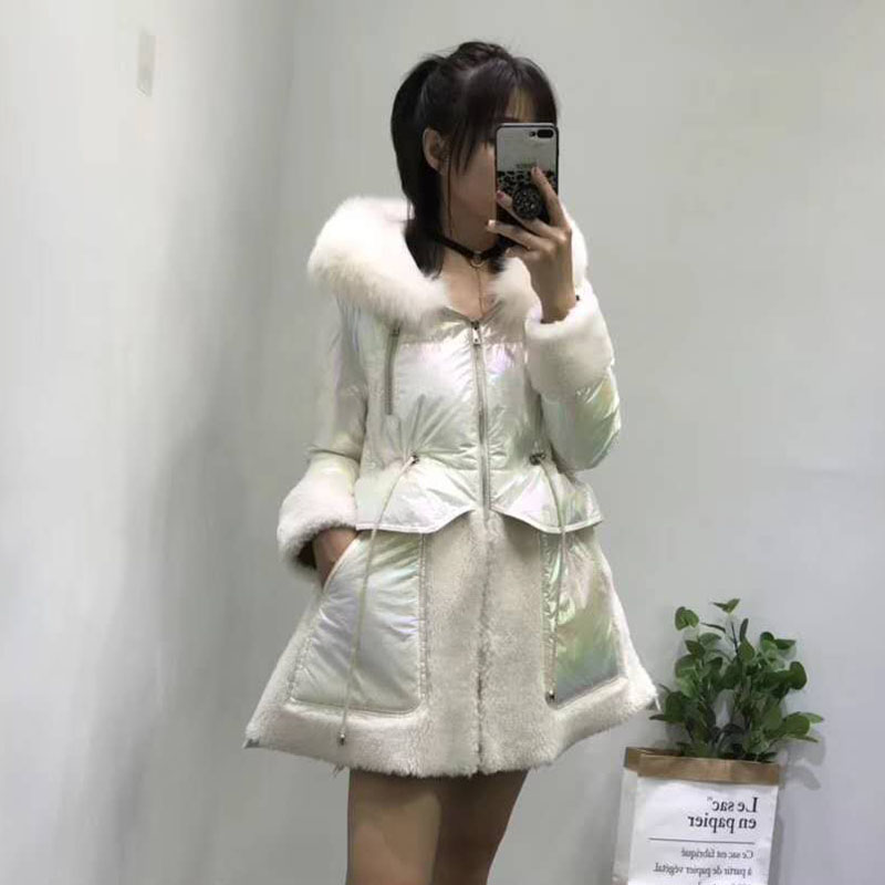 white duck   down   jacket hooded with natural real fox fur patchwork sheep fur   coat   long skirt style pink parka warm overcoat