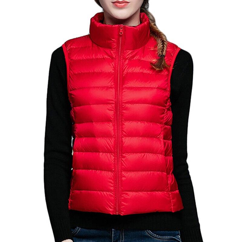 Women Sleeveless Jacket New Autumn Winter Ultra Light White Duck Down Vest Female Outwear Warm Waistcoat Slim Vest Coat AB431