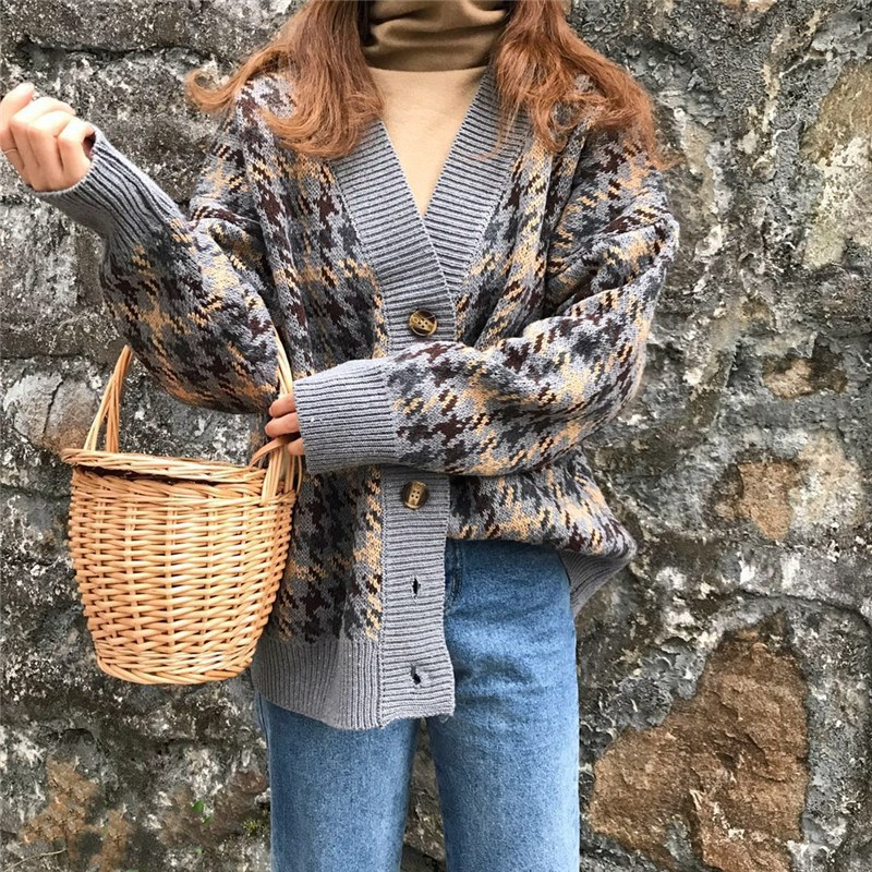 Danjeaner Autumn Winter Lattice Knitted Long Cardigans Loose Casual Preppy Style Thick Sweaters Jumpers Women Knitting Jackets 11