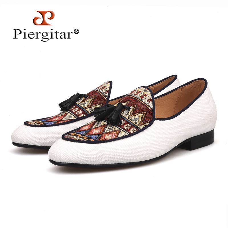 Piergitar new designs Handcrafted multicolor BELGIAN LOAFERS in raw cotton canvas with leather tassels skin insole