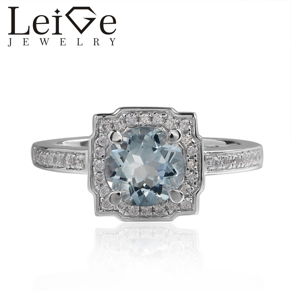 Leige Jewelry Real Aquamarine Ring Blue Color Round Cut Halo Rings For Woman March Birthstone 925 Sterling SilverLeige Jewelry Real Aquamarine Ring Blue Color Round Cut Halo Rings For Woman March Birthstone 925 Sterling Silver
