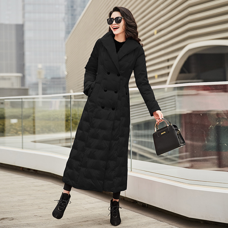 Garden Beautiful Down Jacket Female 2019 New Long-style Slimming White Duck Down Over Knee Thickening Thermal Coat 1036