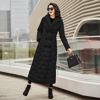Garden Beautiful Down Jacket Female 2019 New Long style Slimming White Duck Down Over Knee Thickening Thermal Coat 1036