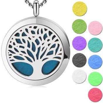 cba788bbe2 Joyería de plata árbol simple de la vida aromaterapia aceite esencial  quirúrgico Acero inoxidable Perfume difusor colgante medallón collar