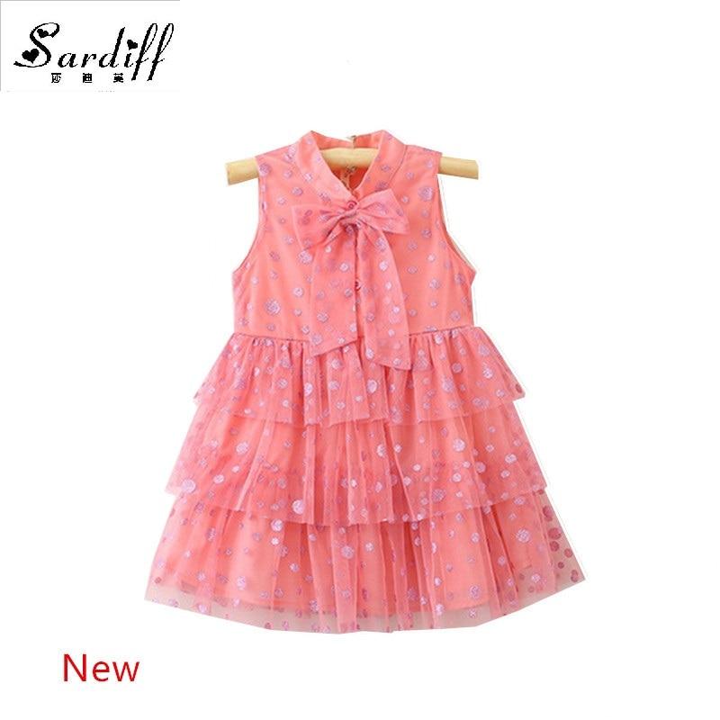 2017 Baby Girls Summer Pink Cake Dress Newborn Girl Infant Shnning Dot Bow Dresses 1 Year
