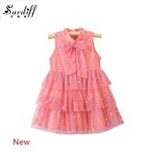 2017 Baby Girls Summer Pink Cake Dress Newborn Girl Infant Shnning Dot Bow Dresses 1 Year Birthday Gift Sleeveless Clothing Girl