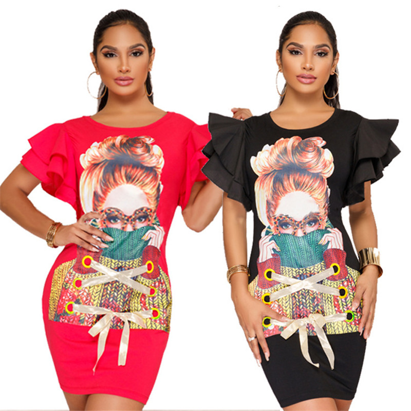 Character Printed Short Sleeve T Shirt Dress Women Stylish O Neck Petal Sleeve Tunic Bodycon Dress Ladies Casual Mini Dresses
