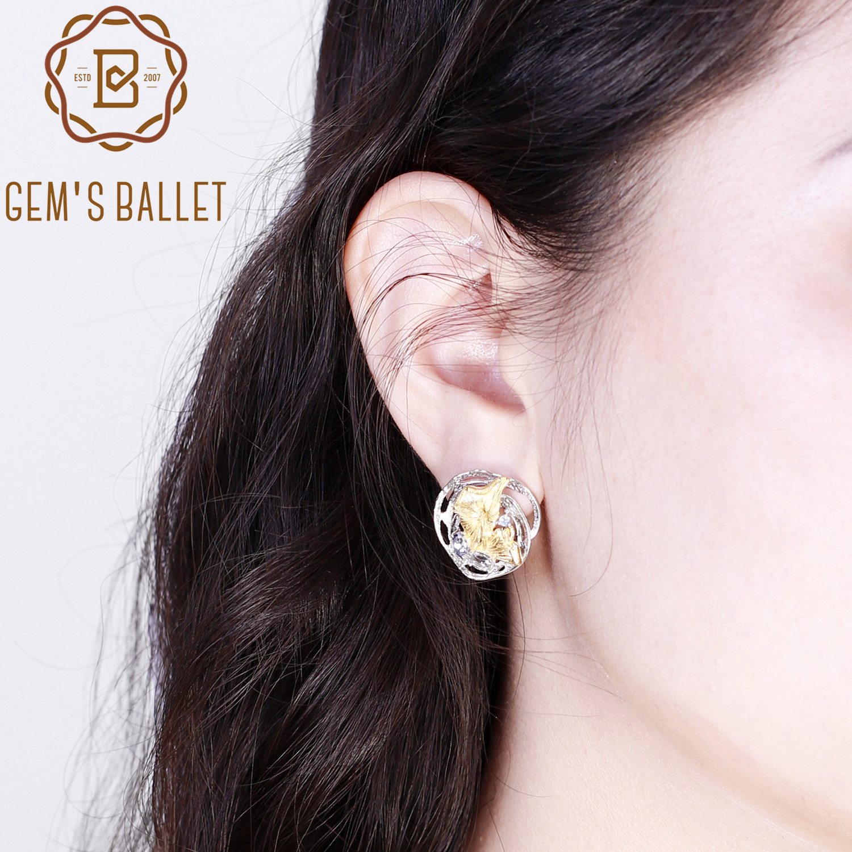 GEM'S BALLET 925 Sterling Silver Handmade Lotus Pond Clip Earrings Natural Sky Blue Topaz Mystic Quartz For Women Fine Jewelry
