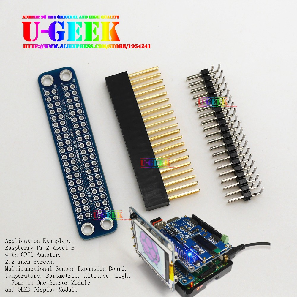 купить UGEEK Original Unassembled Double GPIO Adapter for Raspberry Pi 3 Model B, 2 Modol B, A+, B+ & Zero Transfer GPIO to Front по цене 815.29 рублей