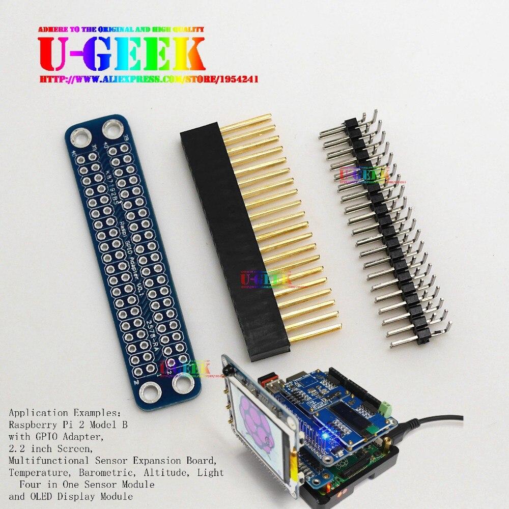 UGEEK Original Unassembled Double GPIO Adapter for Raspberry Pi 3 Model B, 2 Modol B, A+, B+ & Zero Transfer GPIO to Front
