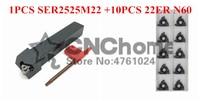 SER2525M22 External thread CNC Turning tool 1pcs+22ER N60/22ER N55 Carbide insert 10pcs 11pcs/set