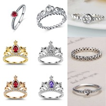 Fashion Plated Silver Color Ring Princess Queen Crown Engagement Wedding Brand Rings For Women Jewelry Valentines Day Gift