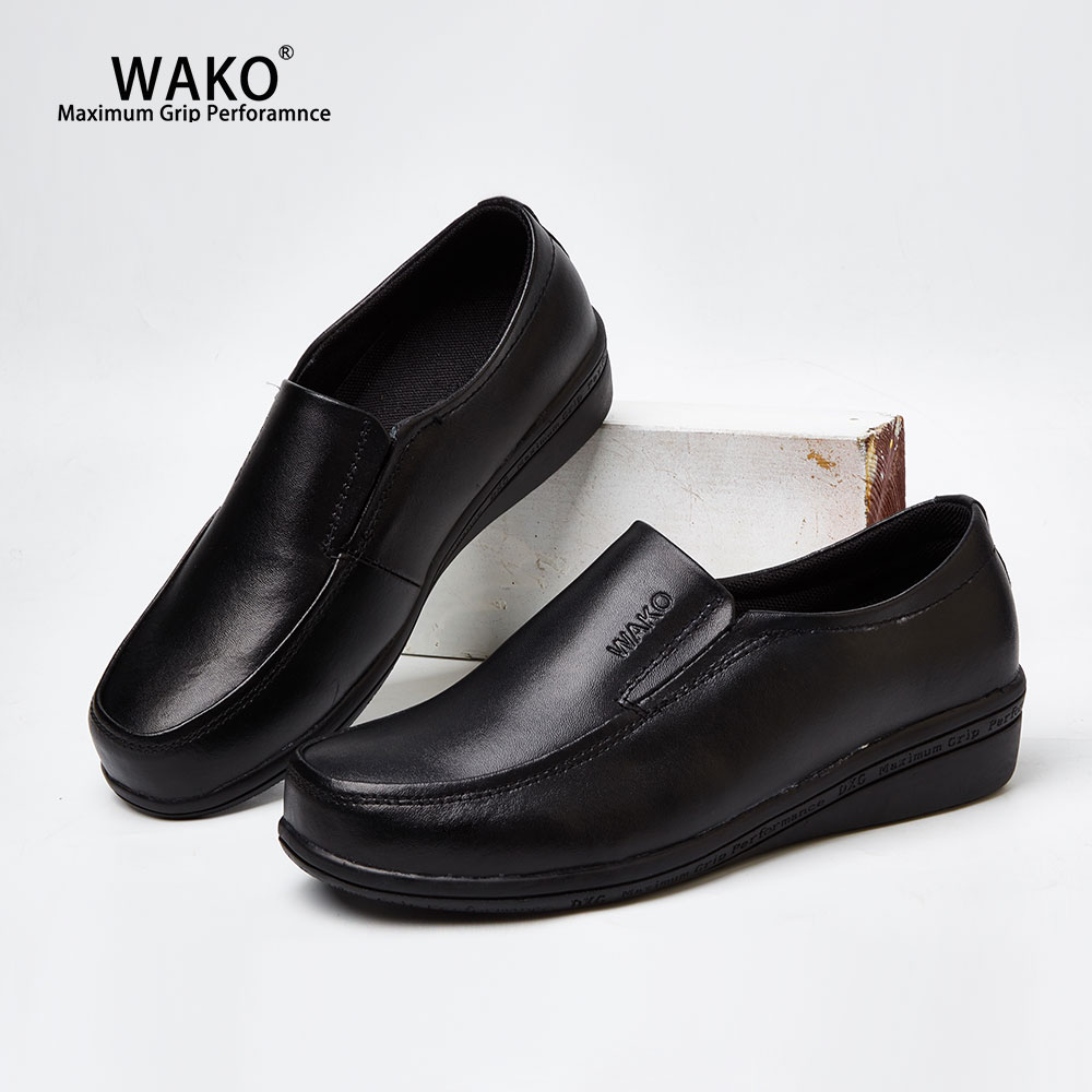 WAKO Women Leather Chef Shoes Slip On Safety Kitchen Cook Work Shoes Anti Skid Hotel Restaurant