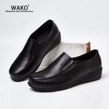 WAKO Women Leather Chef Shoes Slip On Safety Kitchen Cook Work Shoes Anti-Skid Hotel Restaurant Hospital Doctor Nurse Shoes 8525 wako lzw9801 men kitchen shoes genuine leather chef shoes antiskid waterproof oilproof hotel shoes steel head steel toe 38 44