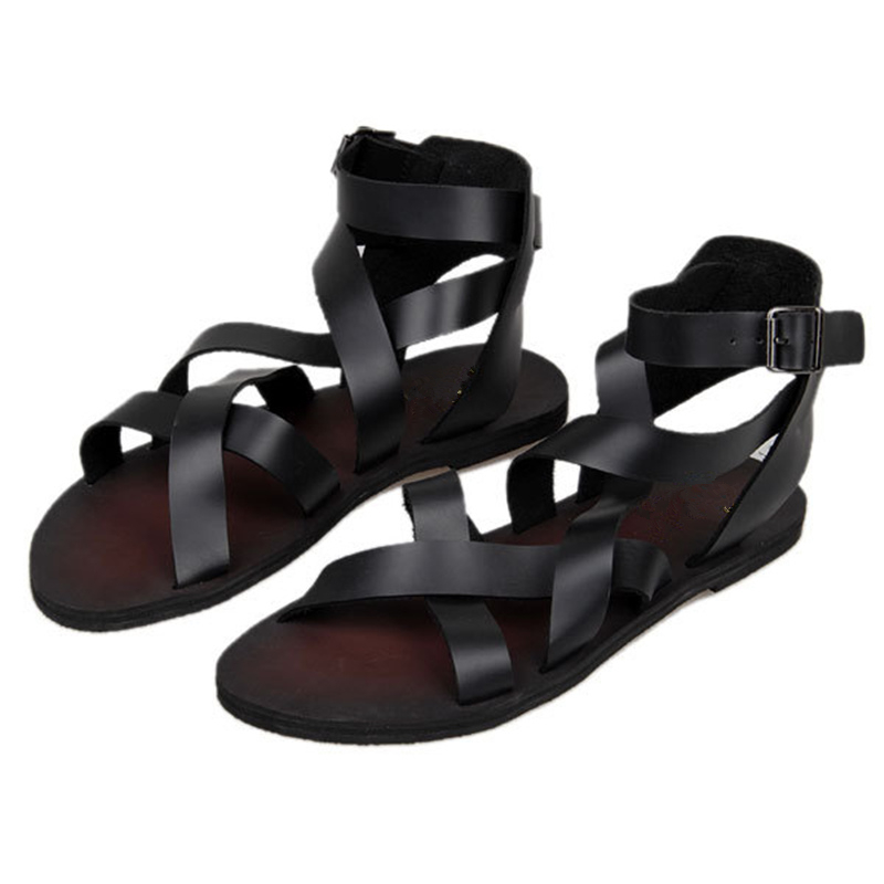 New Summer Men Buckle Strap Beach Shoes Roman Gladiator Cross tied Leather Sandals in Men 39 s Sandals from Shoes