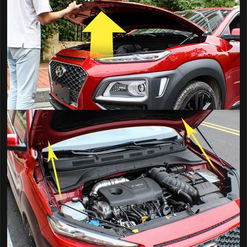 JY 2PCS Hood Damper Lift Strut Support Rod Hydraulic Hood Jackstay Car Accessories For Hyundai Kona 2017 2018