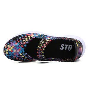 Image 4 - STQ zapatos planos tejidos para mujer, chanclas planas, multicolor, para verano, 2020