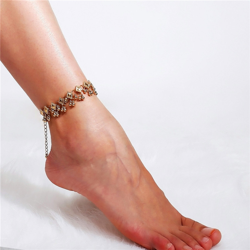 2018 Fashion Vintage Anklet Foot Bracelet On The Leg In Gold/Silver Color Stainless Steel Jewelry For Women Indian Halhal