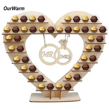 OurWarm  Mr Mrs Wedding Chocolate Heart Tree Ferrero Rocher Chocolate Stand Wedding Display Stand Centrepiece Candy Bar Decor 1