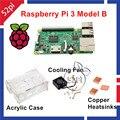 2016 nova chegada Raspberry Pi 3 modelo B Kit com acrílico + ventilador de refrigeração dissipadores