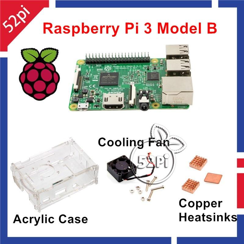 52Pi Raspberry Pi 3 Model B Starter Kit With Acrylic Case+Cooling Fan+Heatsinks