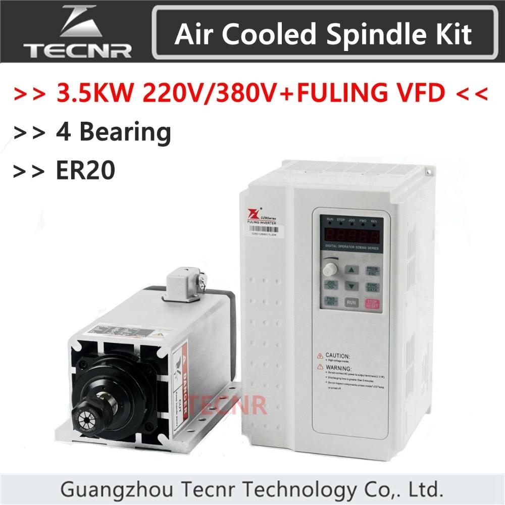 3.5KW 220V 380V air cooled spindle motor ER20 Ceramic 4 Bearings and 3.7KW FULING VFD inverter DZB312 high quality ceramic bearings 3 5kw 380v air cooled spindle motor er20 and 4kw vfd inverter