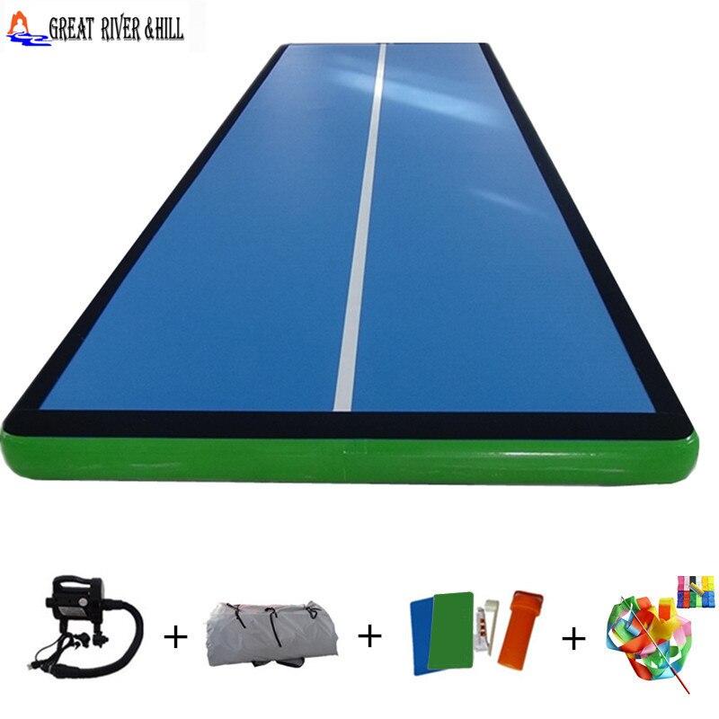 Tapis de lutte facile à transporter 8 m x 2 m chine piste de gymnastique gonflable à la main pour classe/club
