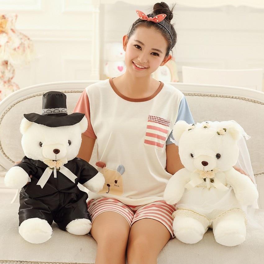 Teddy Bear Wedding Couple Plush Toys Doll 60cm Couples Gift Bride And Groom New