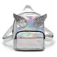 Meloke 2018 Hot Hologram Laser Backpack Girls School Bag Women Small Bling Sequins Angle Wings Backpack